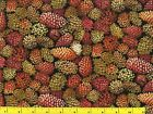 Light & Dark Brown Red Pine Cones Christmas Quilting Fabric by Yard  #3139
