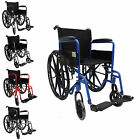 FoxHunter Wheelchair Self Propelled Folding Lightweight Transit Steel Frame New