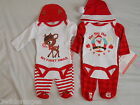Baby Christmas Set 3 Piece Set Bodysuit Trousers Hat 100% Cotton