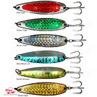 Qty 6 Fish WOW! 1oz Spoon Treble Hook Holographic Laser lures baits trolling @US