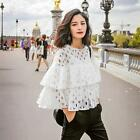 Womens Ladies Lace Ruffle Hollow-out Crew Neck Long Sleeve Tops Shirt Blouse LJ