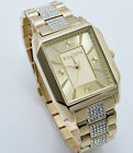 New Elgin Men`s Gold-Tone Crystal Band Rectangle Quartz Dress Watch FG9754ST