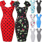 50s Womens Vintage Cherry Print Bodycon Pencil Midi Cocktail Wiggle Party Dress