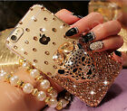 Handmade Luxury Bling Diamond Rhinestone Leopard Clear Case Cover for Cell Phone