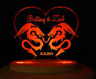 Personalized Dragon Love Wedding Cake Topper Engraved Acrylic Opt LED Light Base