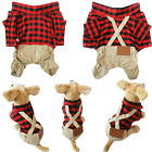 Dog Pet Cat Plaid Jumpsuit Coat Jacket Shirt Puppy Grid Clothes Apparel Garment