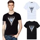 Men Cotton Summer Short Sleeve T Shirt Casual Crew Neck Slim Tops Basic Tee