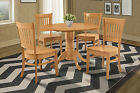 "42"" ROUND TABLE DINETTE KITCHEN DINING ROOM SET IN OAK FINISH"
