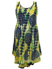 eaonplus TIE DYE Lightweight Dipped Hem BoHo Sundress YELLOW / NAVY 16 18 20 22