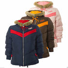Adidas Originals Women's Petite Winter Coat Jacket Faux Fur Hood Quilted Padded
