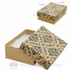 Kraft Damask Cotton Filled Gift Boxes Jewelry Cardboard Box Lots of 12~25~50~100