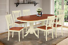 "OVAL DINETTE DINING TABLE SET WITH 18"" LEAF WOOD SEAT IN BUTTERMILK & CHERRY"