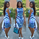New Women's Sexy Casual Sleeveless Floral Printing Bodycon Clubwear Party Dress