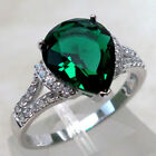 FANCY 3 CT EMERALD 925 STERLING SILVER RING SIZE 5-10