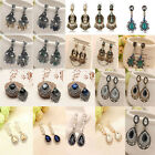 1Pair Women Fashion Elegant Vintage Style Rhinestone Dangle Stud Earring Jewelry