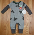 Burt's Bees Baby Boy Thermal Mock Layer Coverall ~ Gray & Gr