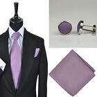 New Mens Wedding Mauve Solid Colour Tie Hankie Cufflink Set