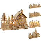 Pre Lit Wooden Village Scene Christmas Decoration Church House Warm White