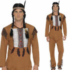 Native Western Warrior Costume Mens Indian American Brown Headband Smiffys 45509
