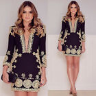 New Women V-neck Summer Beach Dress Loose Casual Swing Ladies Party Long Sleeve