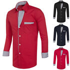New Mens Lined Shirt Slim Fit Stylish Dress Shirts Long Sleeve Men's Tops S-XL