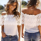 Summer Womens Vintage Casual Off Shoulder Lace Shirts Short Slim Blouse Tops Tee