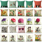 """18""""Love Cats Flowers Cotton Linen Pillow Cover Sofa Cushion Covers Pillow Cases"""