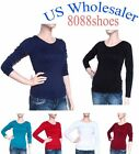 Wholesale Lots Women's One Size Long Sleeve Plain Round Neck Shirt NEW 10 PC