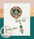 Peace sign ID reel Badge holder~Gorgeous Ultimate Bling Badge~rose gold and teal