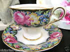 PARAGON TEA CUP AND SAUCER GINGHAM ROSE PATTERN TEACUP FOOTED