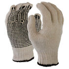 SDI 12 Pairs Natural 7 Gauge Poly Cotton Single Side PVC Black Dots Glove New