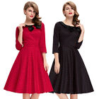 Vintage Women 50s 3/4 Sleeve Housewife Polka Dot Pinup Swing Prom Party Dress