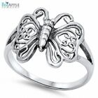 15mm Floral Simple Plain Butterfly Ring Solid 925 Sterling Silver