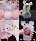 Luxury Cute Bling Diamond Crystal Plush Ball Ring Strap Clear Case Cover