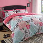 Duvet Cover with Pillowcase Quilt Bedding Set New York City Pink White Blue NYC