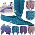 Children Handmade Mermaid Tail Soft Sofa Blanket Traveling Crocheted Rug Cocoon
