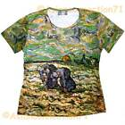 PEASANTS DIGGING IN SNOW Van Gogh Art Print T Shirt Misses Cap Sleeve S-XXL New