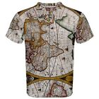 New Antique World Map Sublimation Men's T-Shirt Size XS-3XL Free Shipping