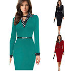 Womens Elegant Long Sleeve Vintage Retro Pinup Casual Party Pencil Sheath Dress