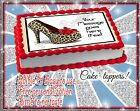 High heel Edible Cake topper birthday Shoe sugar Girly paper sheet image picture