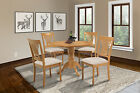 "42"" ROUND TABLE DINETTE KITCHEN DINING CHAIR SET WITH 9"" LEAF IN OAK FINISH"