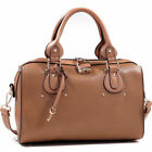 Gold Tone Padlock Shoulder Bag Barrel Satchel Bag Flat Bottom Fashion Handbag
