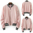Pink Women's Long Sleeve Casual Stand Collar Zipper Jacket Baseball College Coat