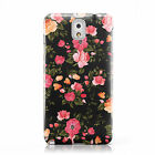 PINK FLORAL PEACH DESIGN PRINT BLACK CASE COVER FOR SAMSUNG GALAXY MOBILE PHONES