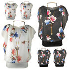 New Womens Ladies Plus Size Chiffon Butterfly/Floral Print Casual Party Top 8-18