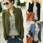 Korean Women's Slim Fit  Double Breasted Jacket Coat Tops Work Fashion Warm