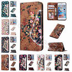 For Samsung / iPhone Diamond Bloom Magnetic Wallet Case Leather Cover With Strap