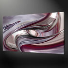 ABSTRACT SILVER PURPLE WAVE CANVAS WALL ART PICTURE PRINT VARIETY OF SIZES