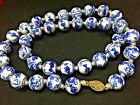 SALE!  VTG CHINESE HAND KNOTTED BLUE/WHITE BEADED NECKLACE~Chinese Silver Clasp