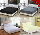 Plain 200TC Egyptian Fitted Cover Bed Sheet Pillow Case Cotton Bedding Quilt Set